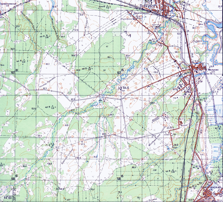 Топографические карты окрестностей