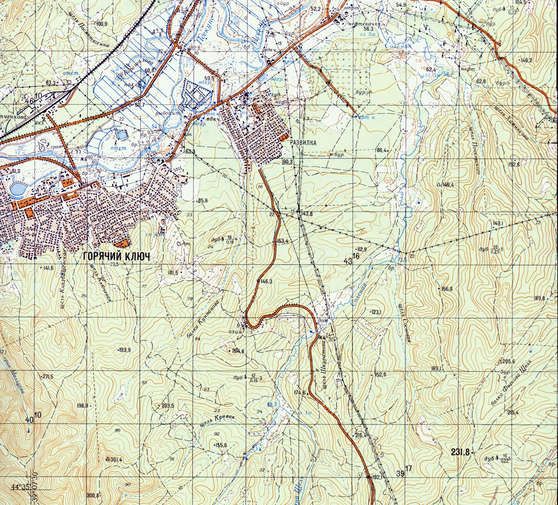 Топографические карты окрестностей Горячего Ключа.